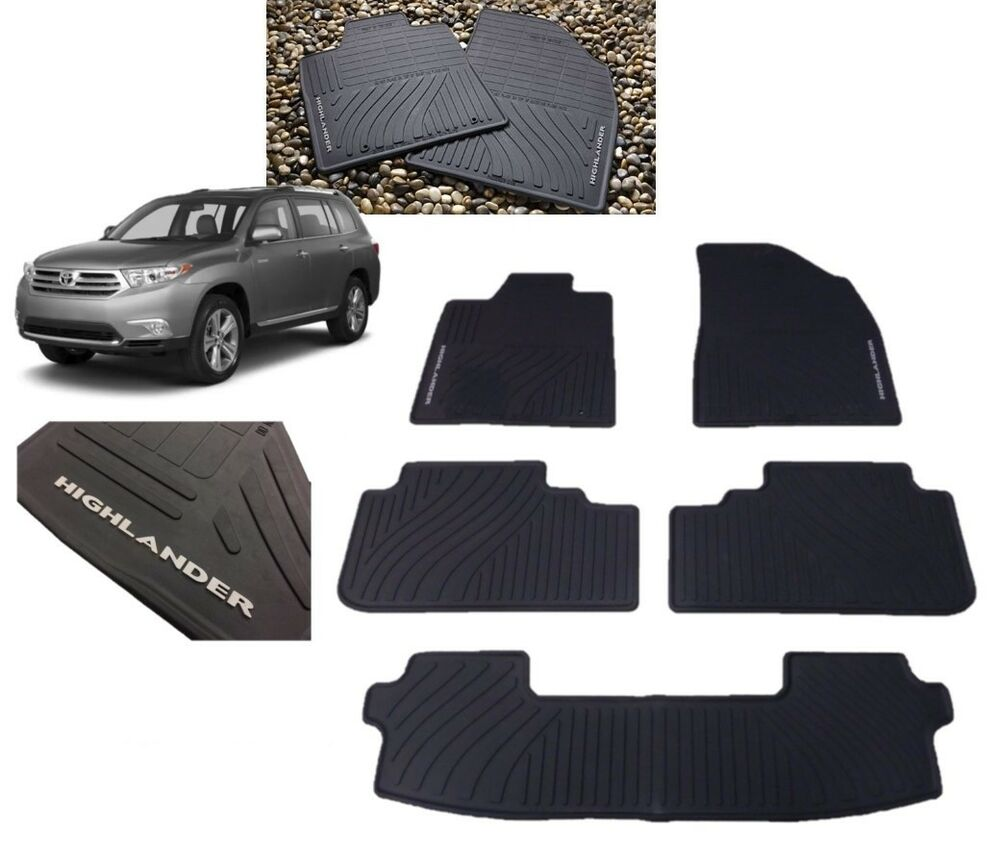 2008 2013 Highlander Floor Mats All Weather W 3rd Row