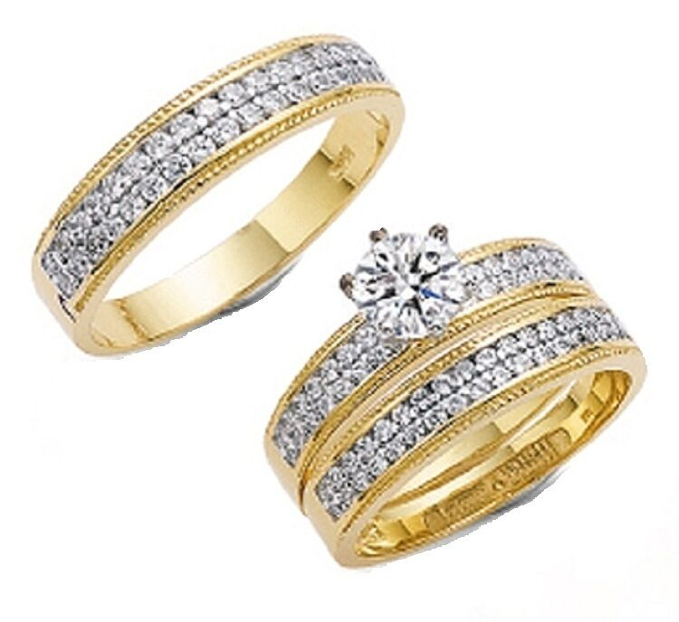 10K SOLID YELLOW GOLD HIS & HER TRIO WEDDING BAND SET SIZE 5 13