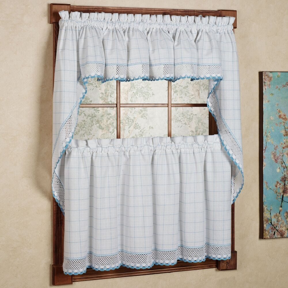 Adirondack cotton kitchen window curtains white blue for Kitchen window curtains