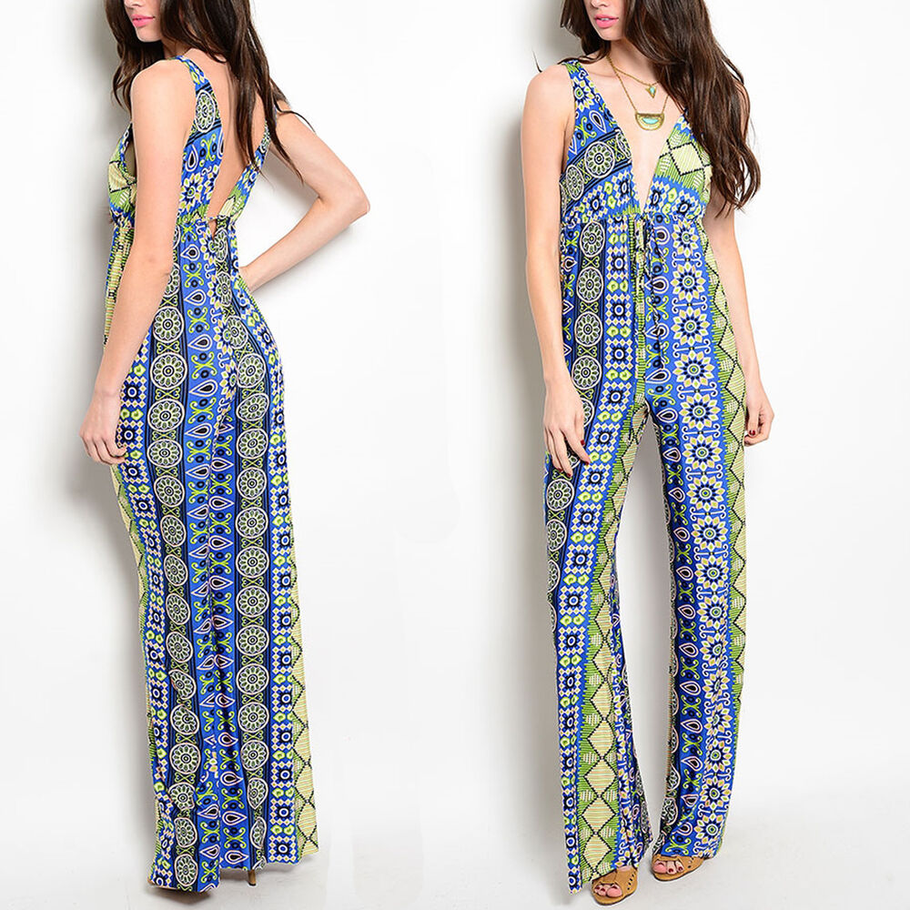womens jumpsuit romper palazzo pants sexy backless v neck