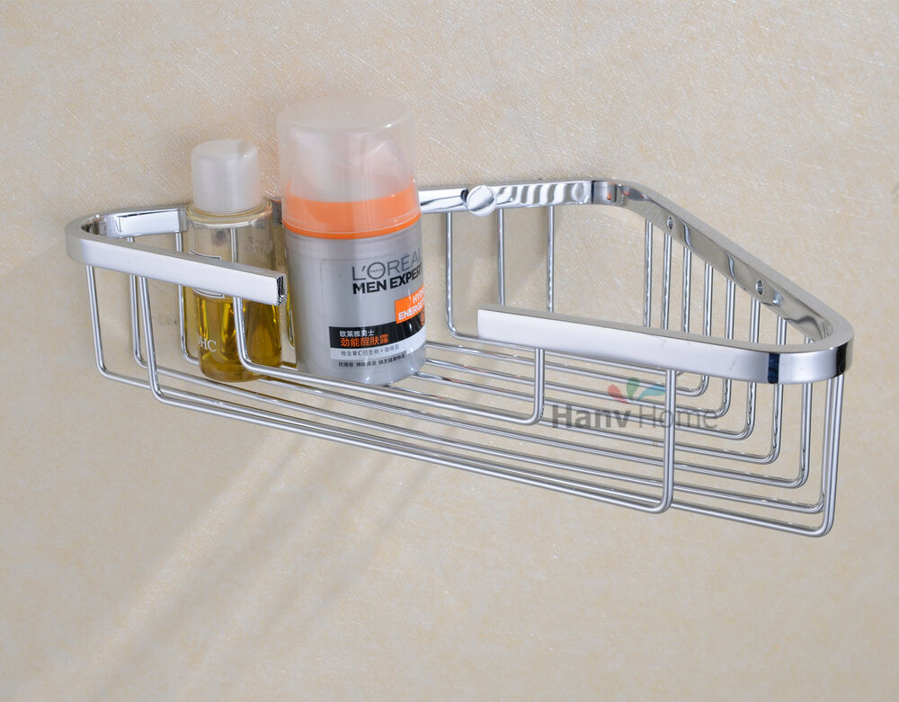 Chrome bathroom stainless steel wall mounted corner caddy - Bathroom shelves stainless steel ...