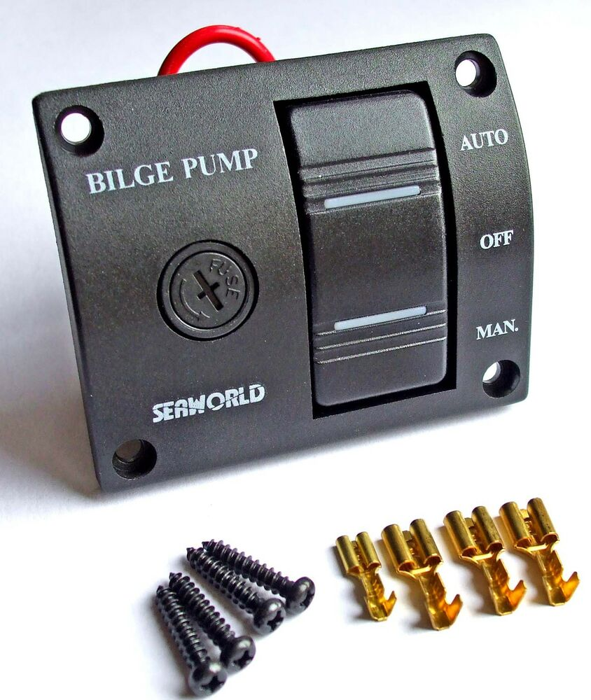 bilge pump switch panel splashproof  seaworld 3 way 12v