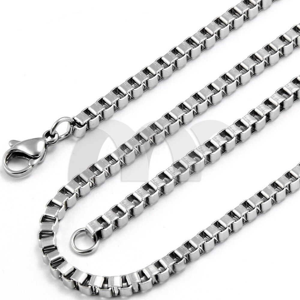 Mm quot silver stainless steel box necklace chain