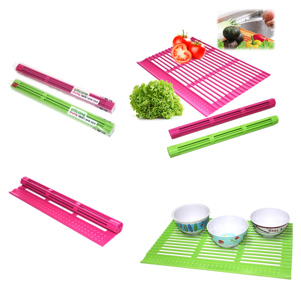 Cleaning Kitchen Utensils: Korea Silicone Sink Mat Drying Rack Kitchen Tools Clean