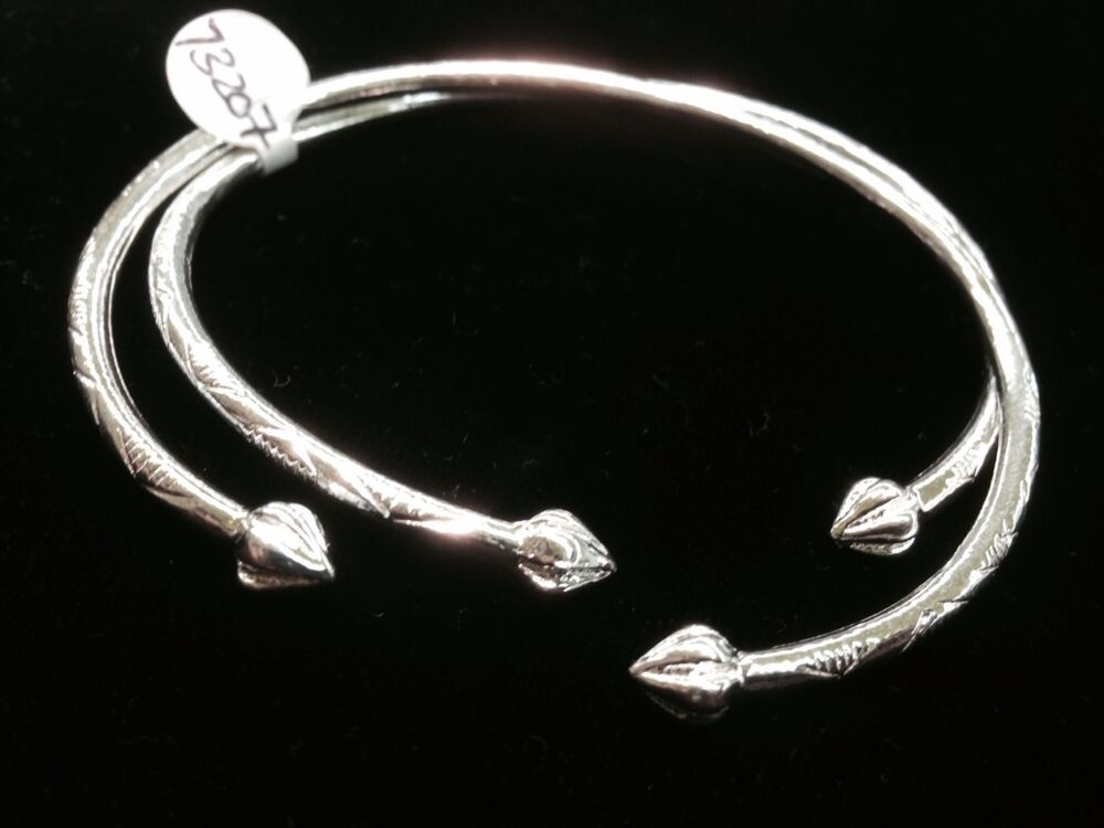 Pair Of Pine Head Handmade West Indian Sterling Silver Bangles Ebay