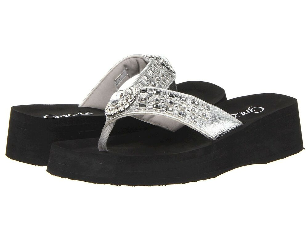 92bcd43f18dd Details about GRAZIE FLIP FLOPS SANDALS SHOES SABINA WOMANS BLING RHINESTONE  SILVER NEW