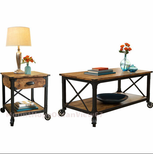 Rustic Coffee Table Set Industrial Wood Vintage Furniture