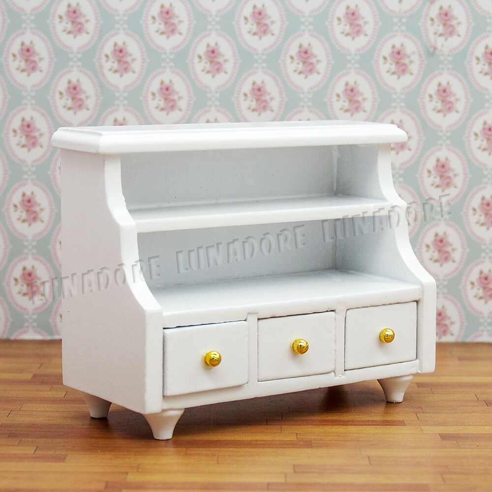 White Wood Bathroom Bedroom Cabinet W Drawer 1 12 Dollhouse Furniture Miniature Ebay