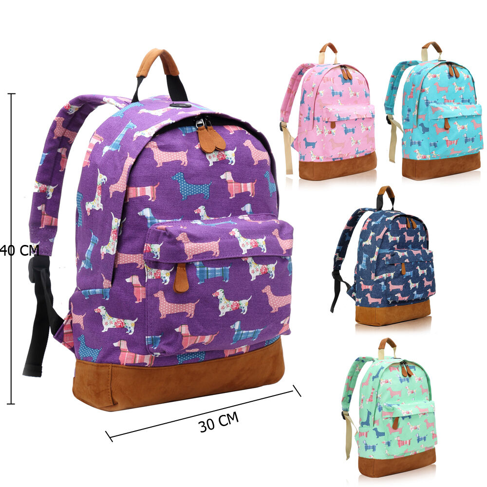 Ladies Girl Sausage Poodle Dog Canvas Backpack Rucksack School ...