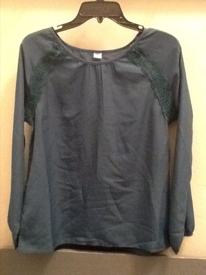 Old Navy Emerald Green Longsleeve Sheer Polyester Blouse ...