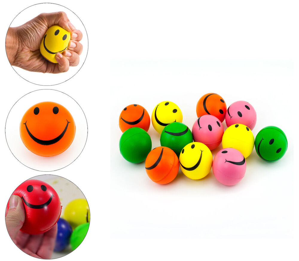 Smile Face Stress Squeeze Balls Assorted Colors 2.5