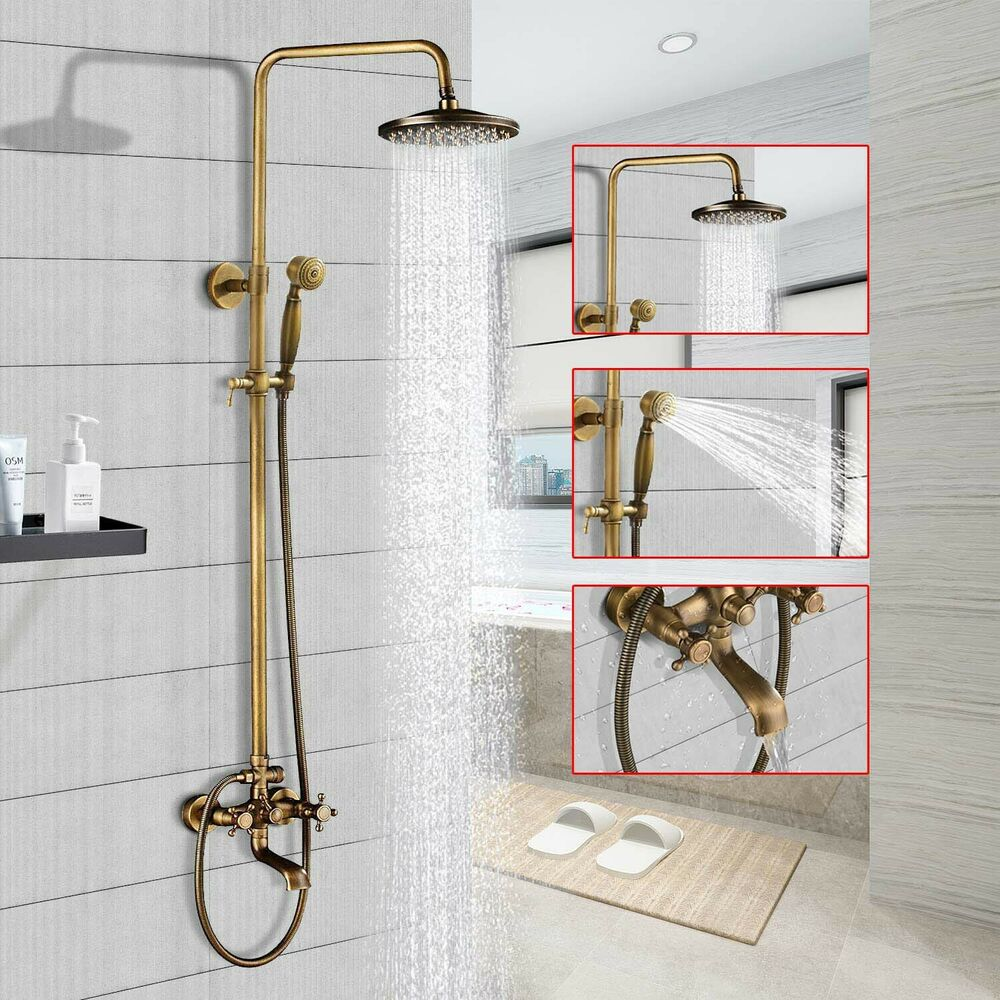 Antique brass rain bathroom shower set faucet w tub faucet mixer tap wall mount ebay Antique brass faucet bathroom