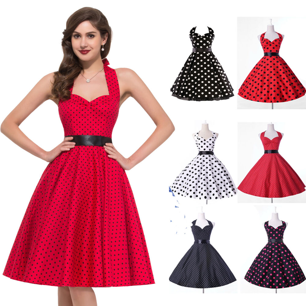 retro vintage style 50s 60s pinup swing evening prom dress plus size ebay. Black Bedroom Furniture Sets. Home Design Ideas