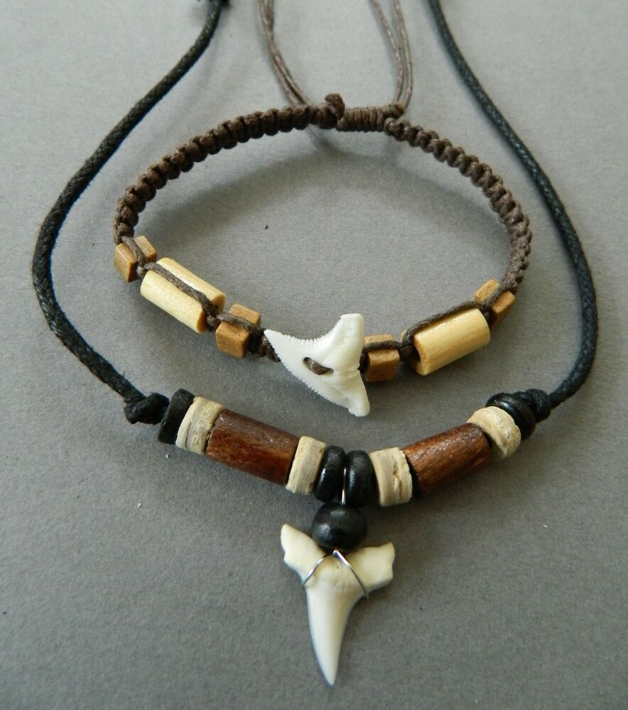 SHARK TOOTH NECKLACE BRACELET WRISTBAND MENS WOOD BEAD SET ...