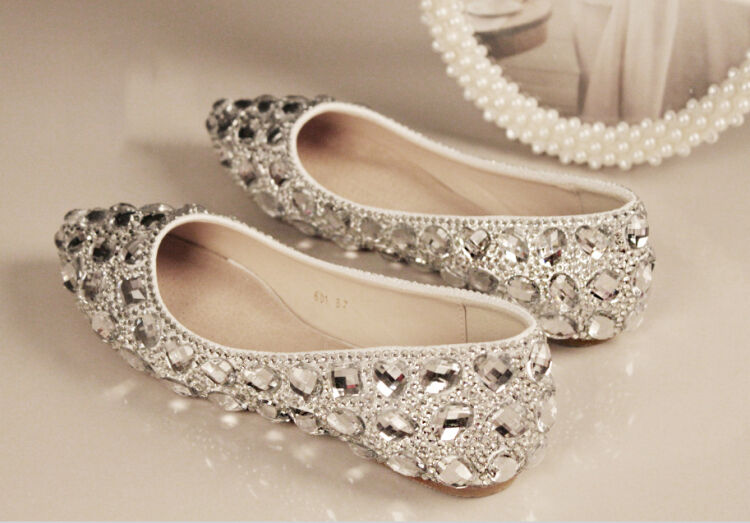 Wedding Heels With Rhinestones: Bling Bridal Crystal Wedding Shoes Rhinestone Low Heel