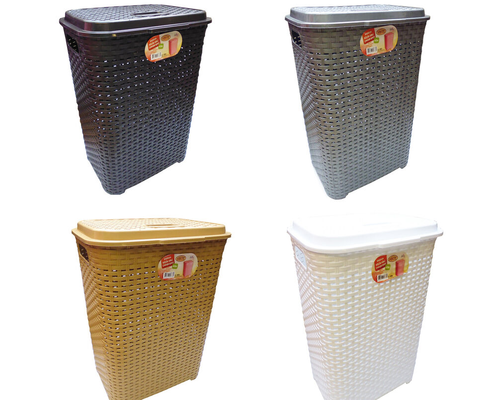 45l large rattan plastic laundry bin washing bin multi storage basket box lidded ebay. Black Bedroom Furniture Sets. Home Design Ideas