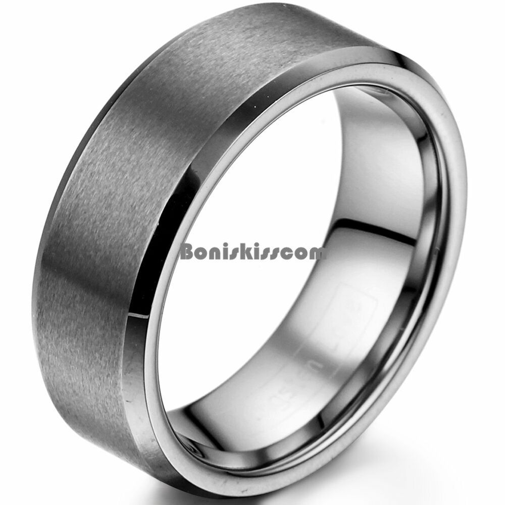 8mm Matte Finish Comfort Fit Tungsten Carbide Ring