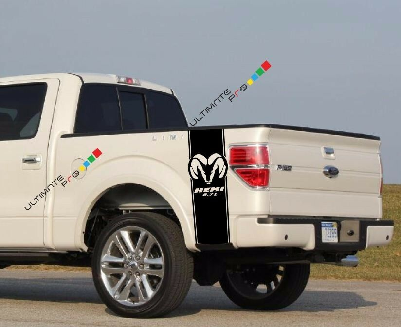 Rear Bed Stripes Vinyl Graphic Racing Bands Decal Sticker Kit For Dodge Ram Hemi Ebay