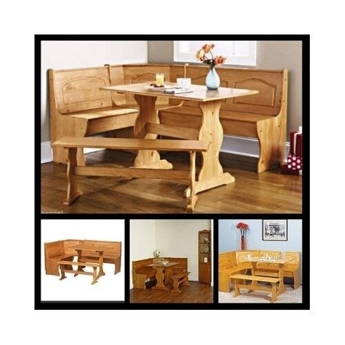 Corner dining set kitchen breakfast nook wooden table bench storage benches seat ebay Corner kitchen bench