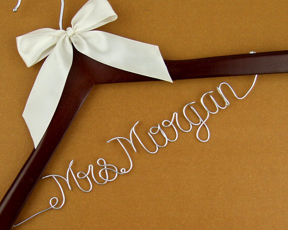 Personalized wedding hanger wire name bride hanger for Wedding dress hanger amazon