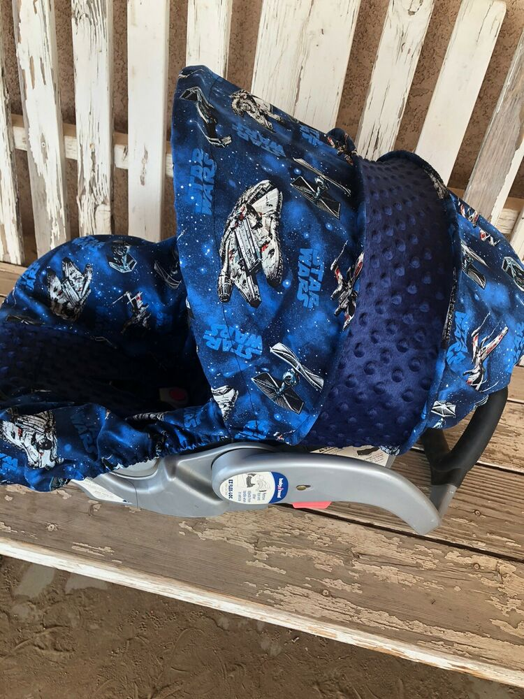 Infant Car Seat Cover And Hood Cover Star Wars With Navy Blue Minky Ebay
