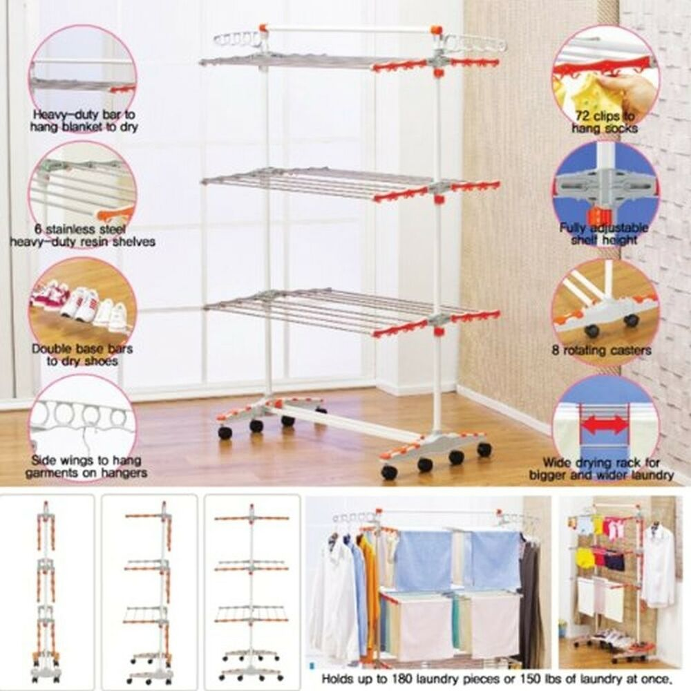 Foldable Clothes Drying Rack Heavy Duty Laundry Dryer
