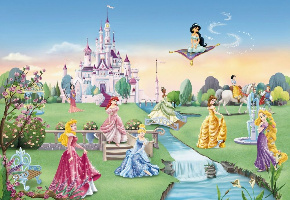 Princess castle wallpaper wall mural for kids disney made for Disney princess wallpaper mural