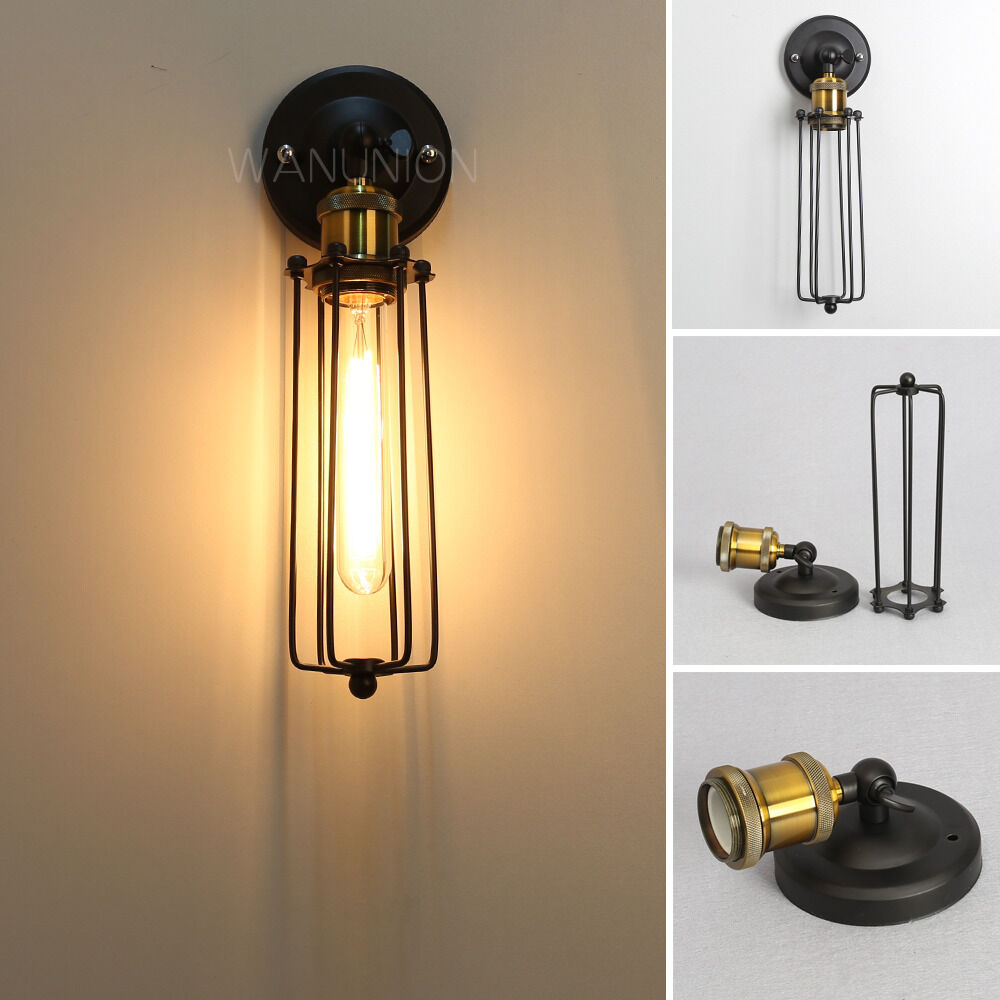 Vintage Retro Edison Metal Cage Light Wall Lamp Cage Loft Sconce Lighting Shade eBay