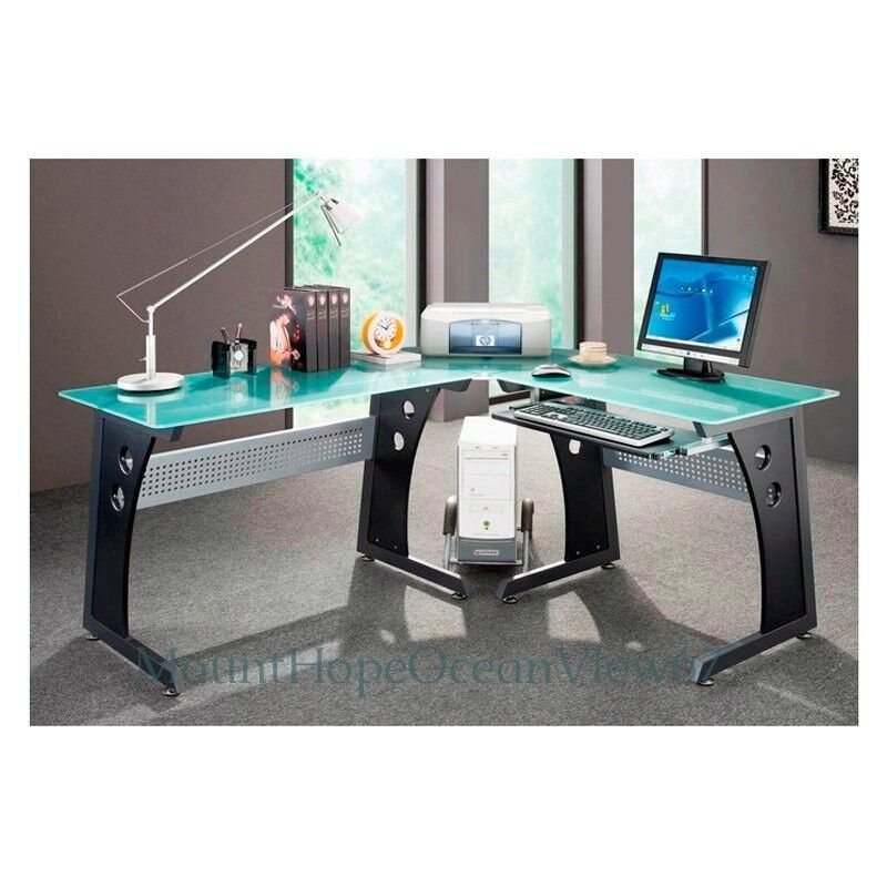 Glass Top Computer Desk Modern Graphite Corner Gaming Home Office Furniture  Work | EBay