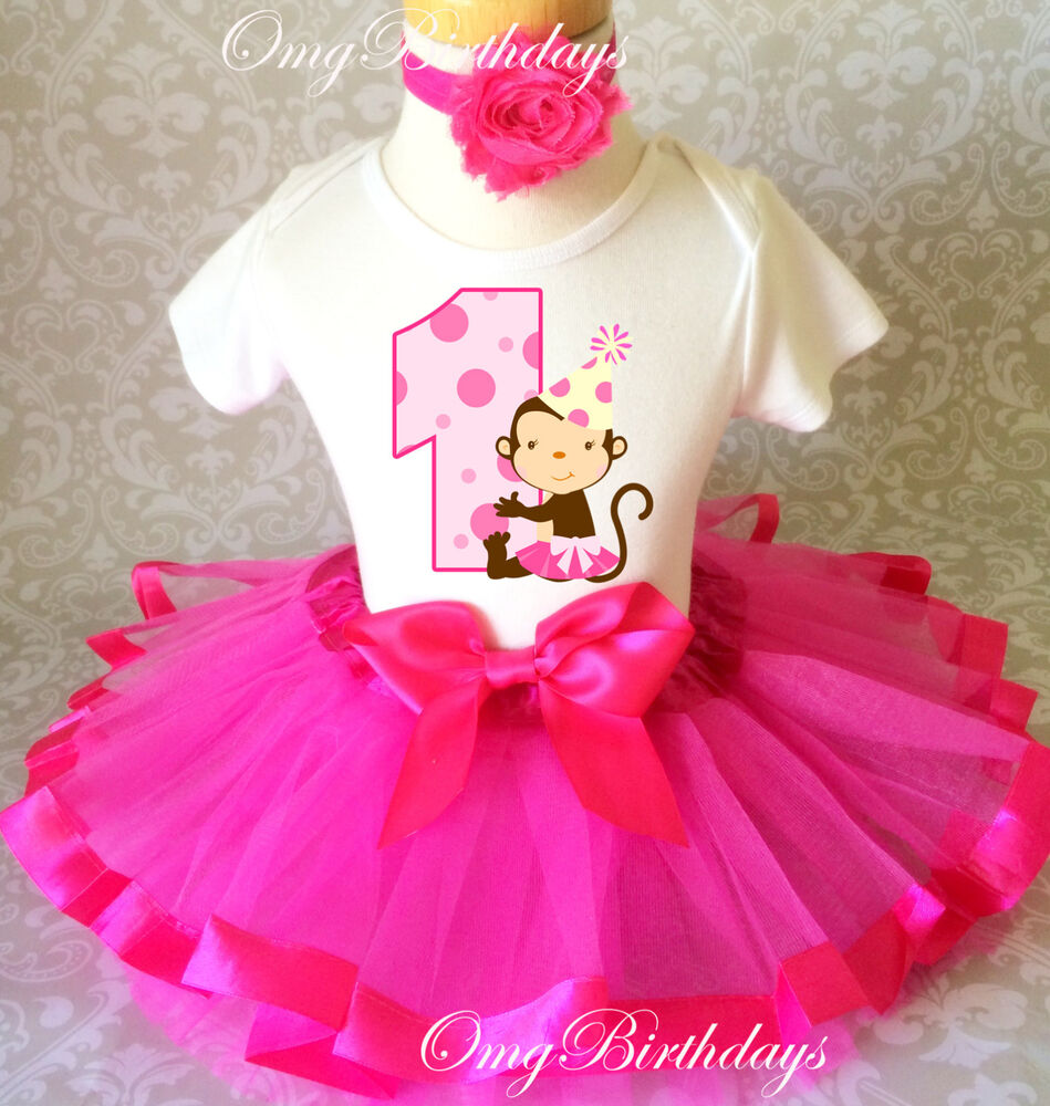 Cute Monkey Hot Pink Dots Baby Girl 1st First Birthday