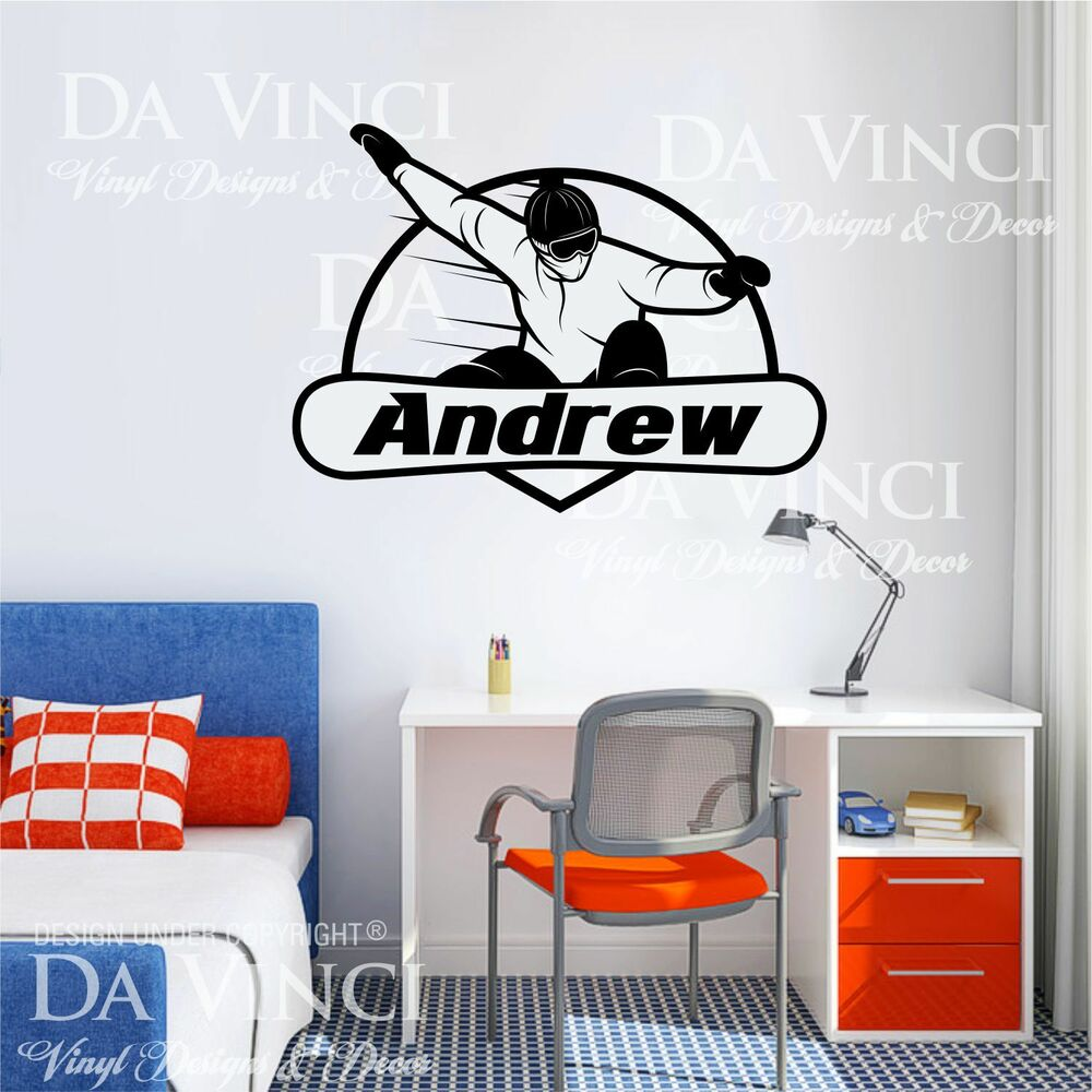 snowboard snowboarding decal custom name wall personalized large custom vinyl wall quote decal sticker art words