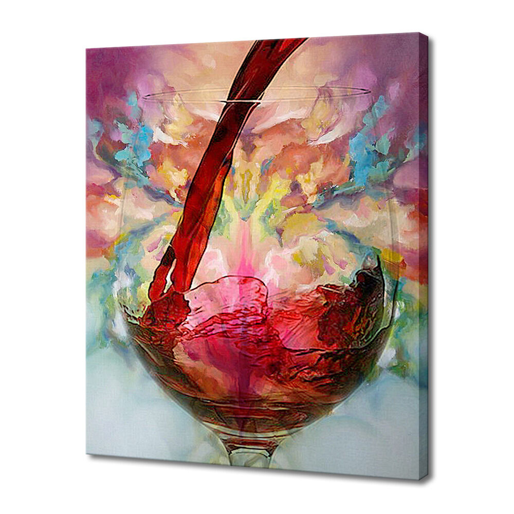 modern hand painted art oil painting wine cup theme canvas home decor us stock ebay. Black Bedroom Furniture Sets. Home Design Ideas