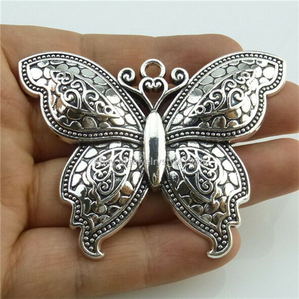 13974 2pcs Alloy Large Butterfly Insect Pendant Charms