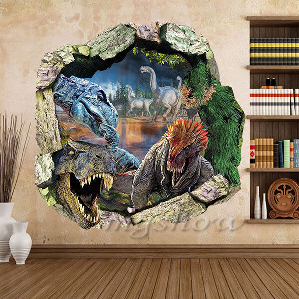 Dinosaur 3d wall sticker art decor decal kids mural home for Dinosaur wall mural uk