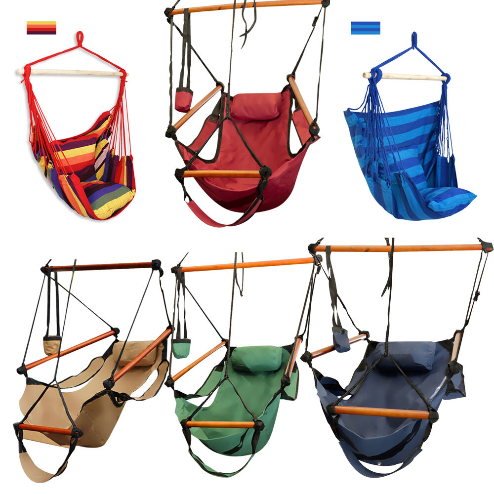 Outdoor Cotton Striped Hanging Hammock Rope Chair Porch