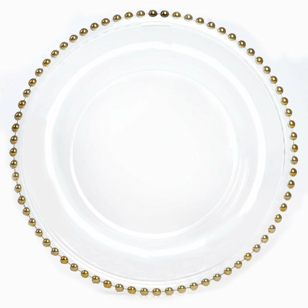112 Pcs 12 Quot Beaded Rim Clear Glass Charger Plates Wedding