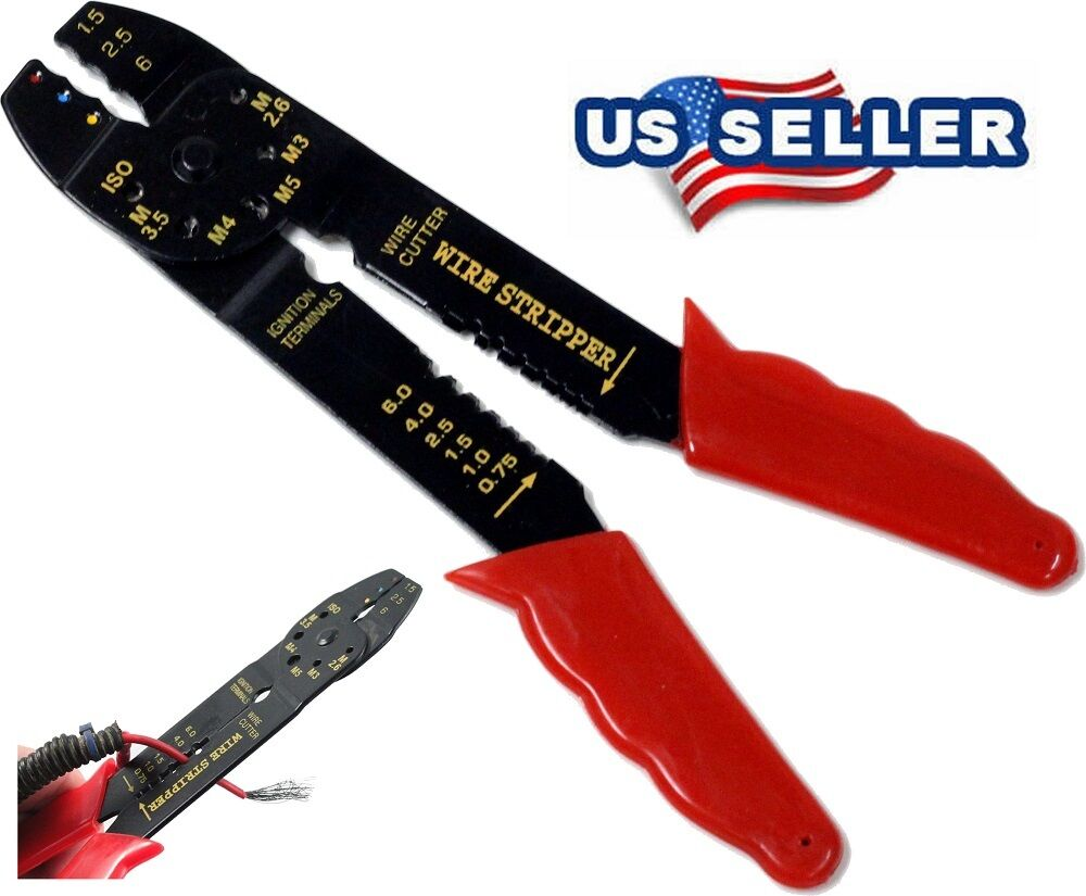 8 inch crimping tool wire stripper cutter cables tool hand bolt cutter ebay. Black Bedroom Furniture Sets. Home Design Ideas