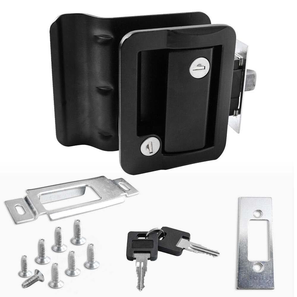 Black Rv Paddle Entry Door Lock Latch Handle Knob Deadbolt