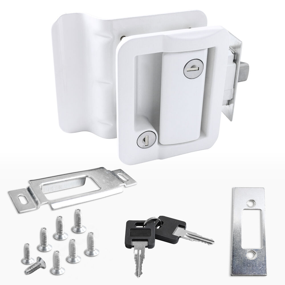 White Rv Paddle Entry Door Lock Latch Handle Knob Deadbolt