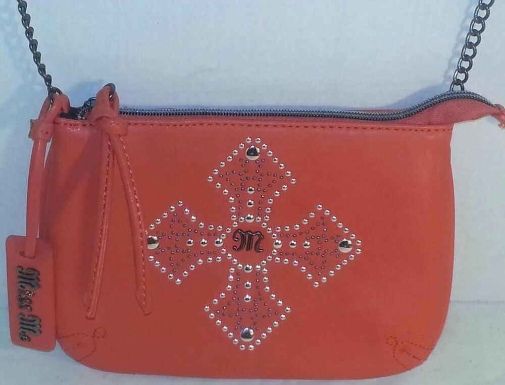 New Women S Miss Me Orange Emma Mini Purse Studded Vegan