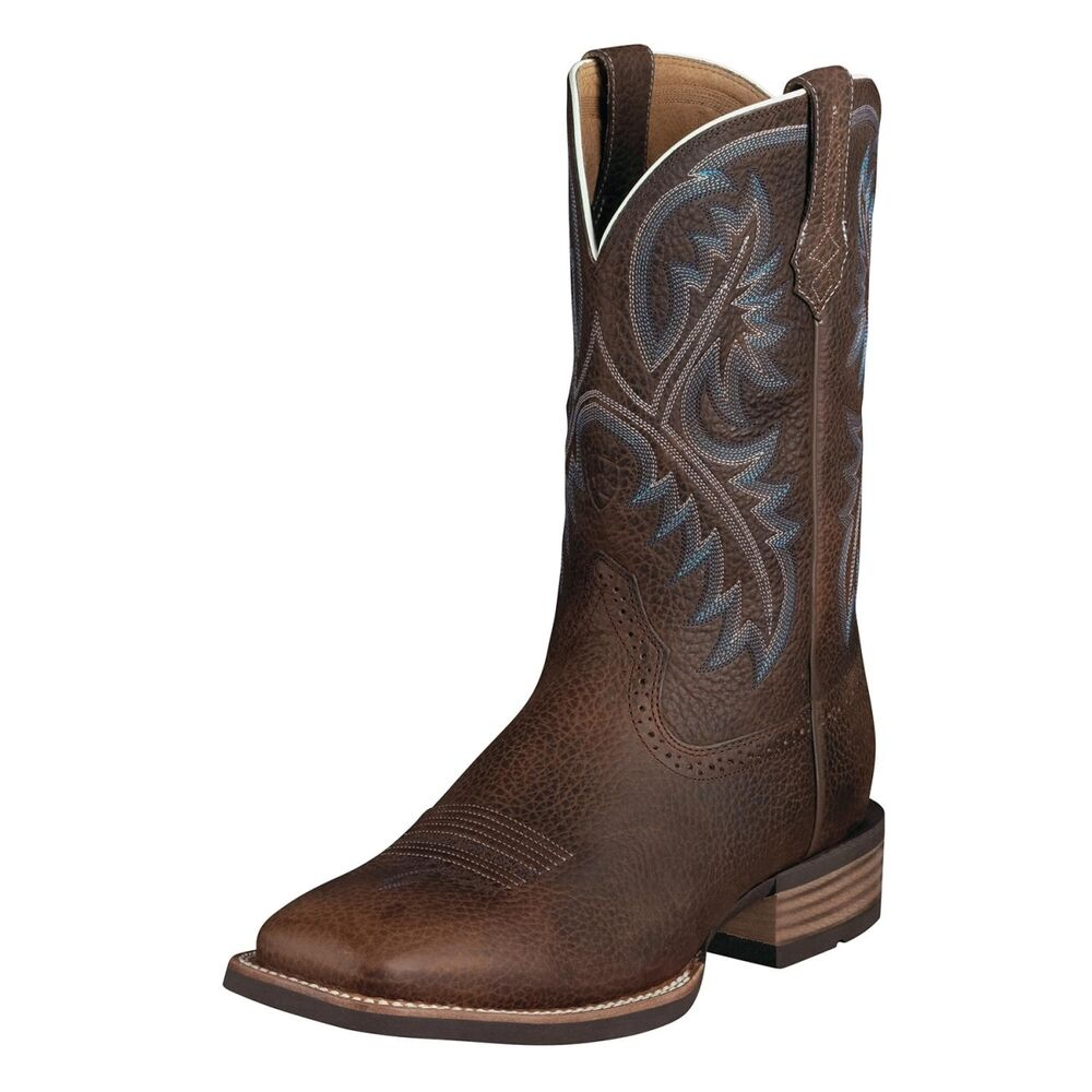 ariat quickdraw s western brown square toe