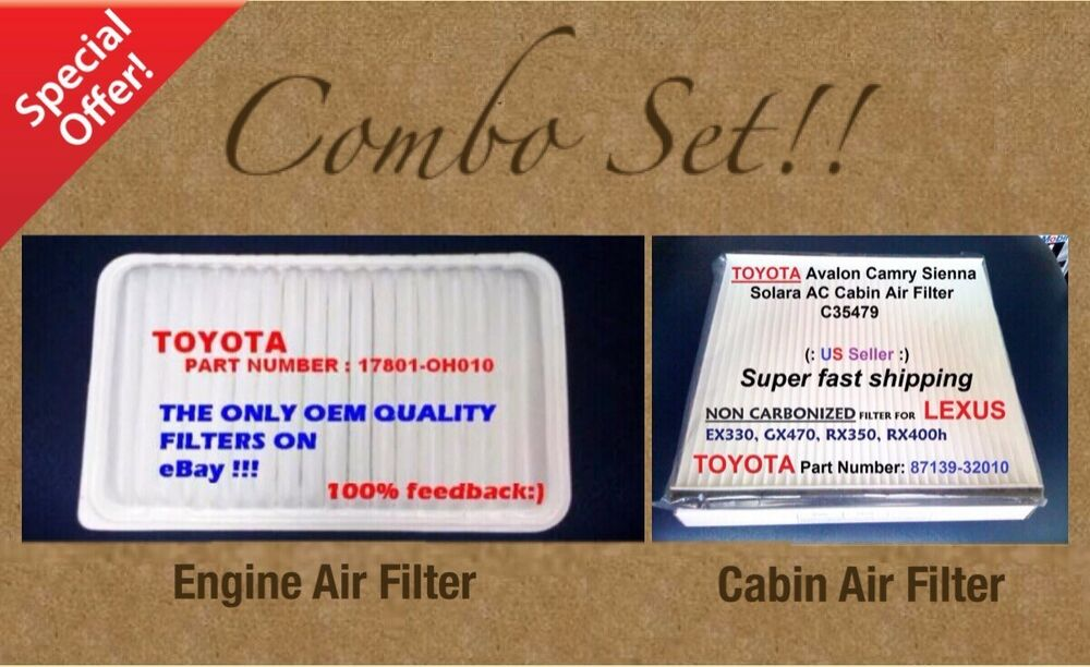 engine filter cabin air filter combo set for camry sienna solara oem quality ebay. Black Bedroom Furniture Sets. Home Design Ideas