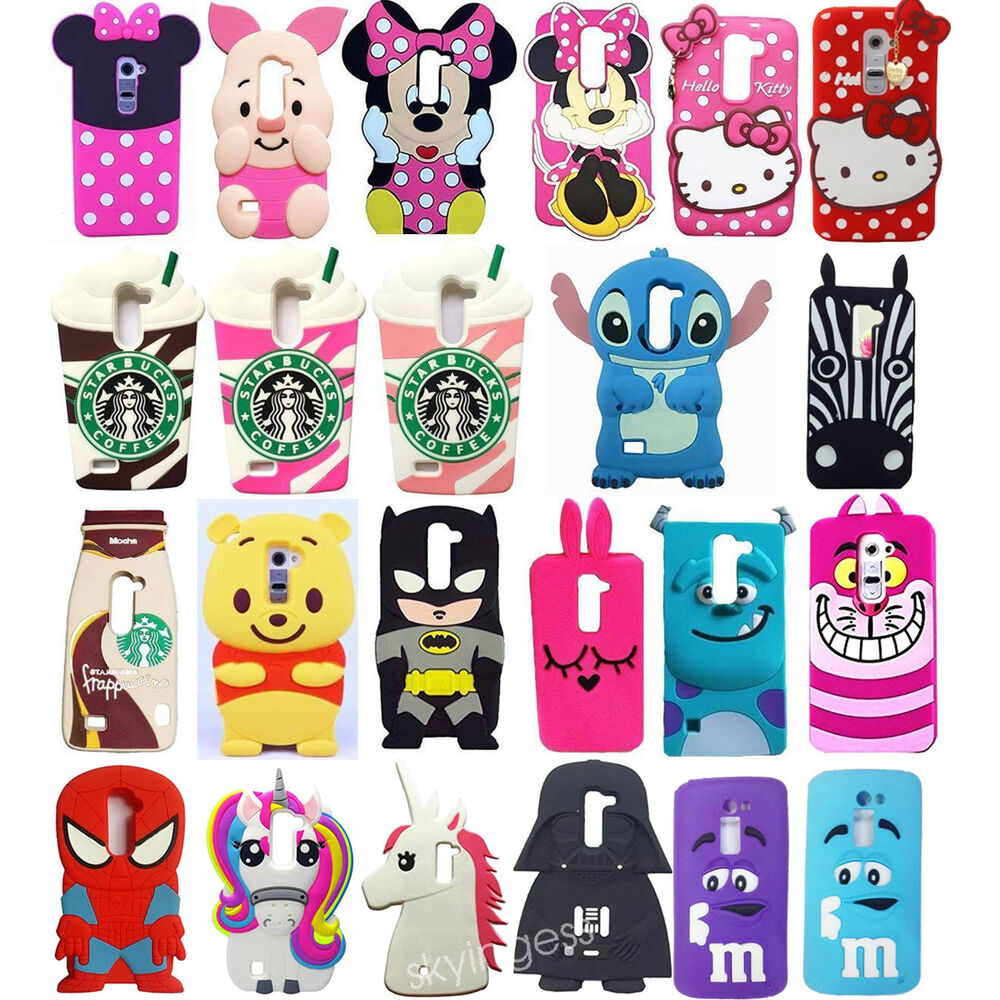 3D Cute Cartoon Soft Silicone Back Rubber Case Cover For LG G2 G2mini ...