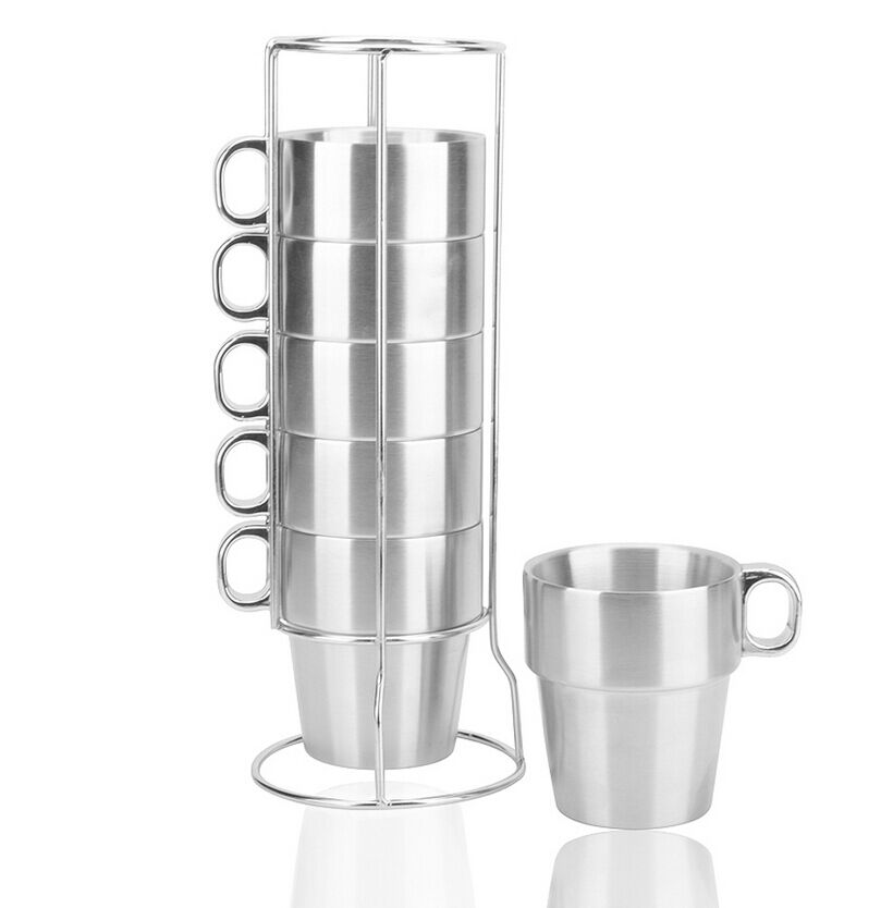 beer coffee mugs 6pcs double wall stainless steel drink cup rack set ebay. Black Bedroom Furniture Sets. Home Design Ideas