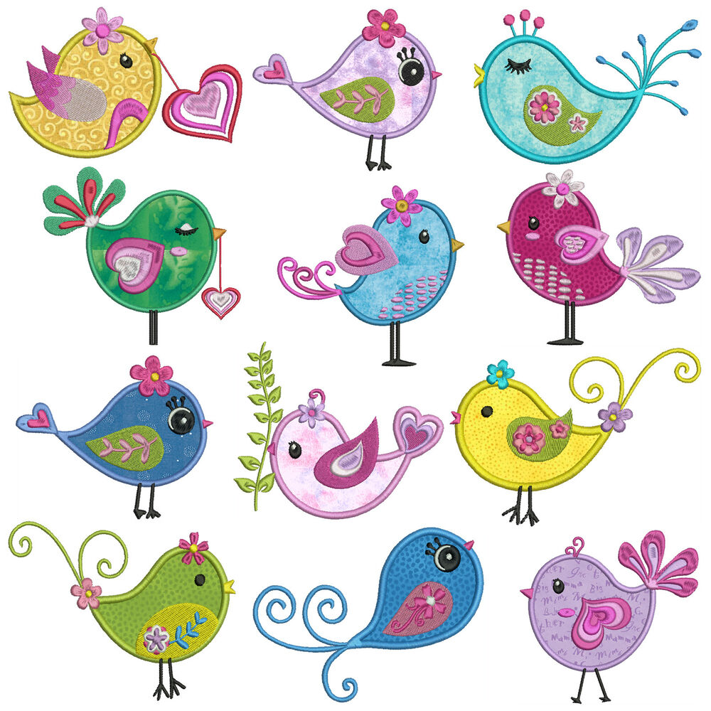 Diva birds machine applique embroidery patterns