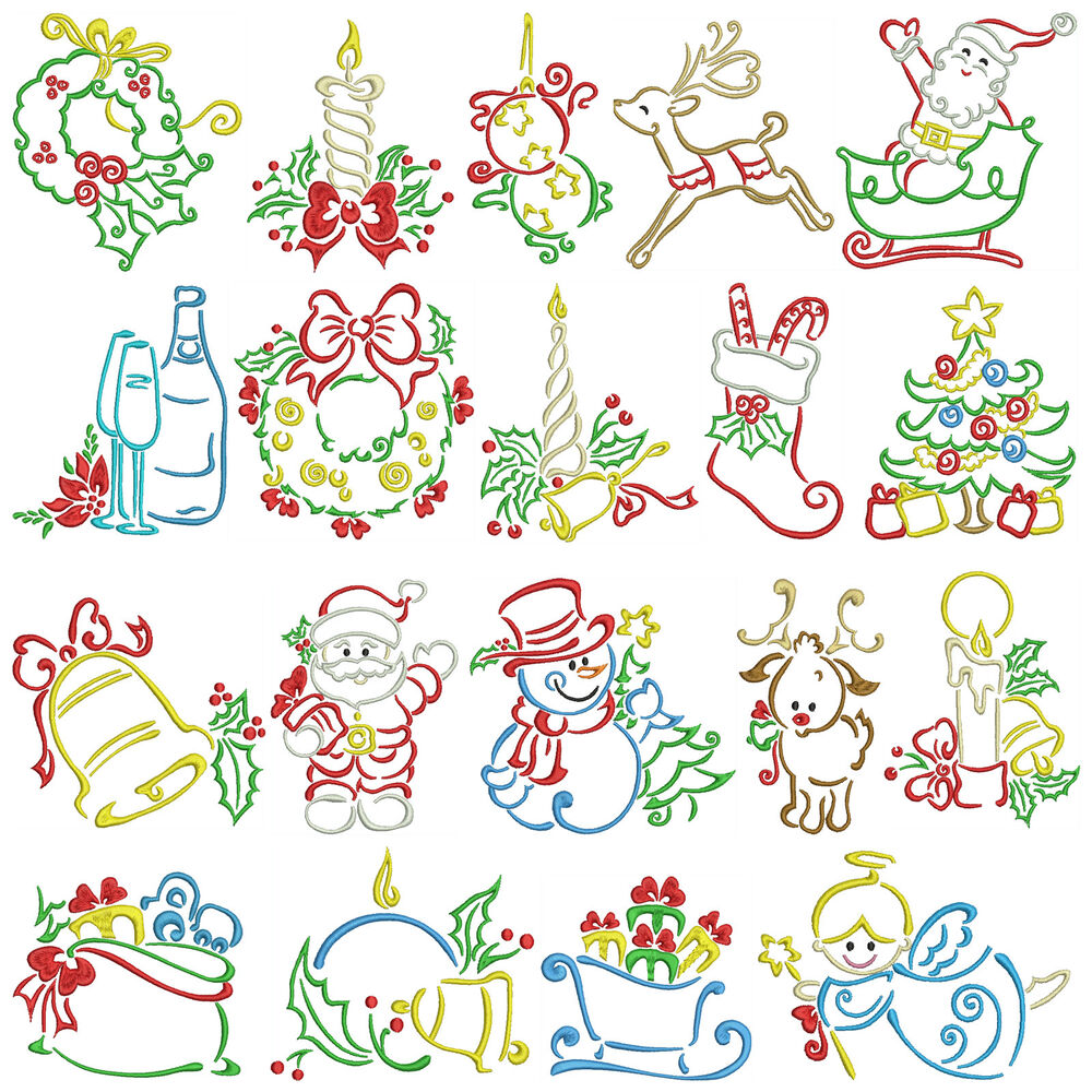 Satin christmas machine embroidery patterns designs