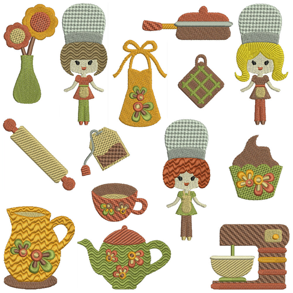 Retro Kitchen Machine Embroidery Patterns 14 Designs Ebay