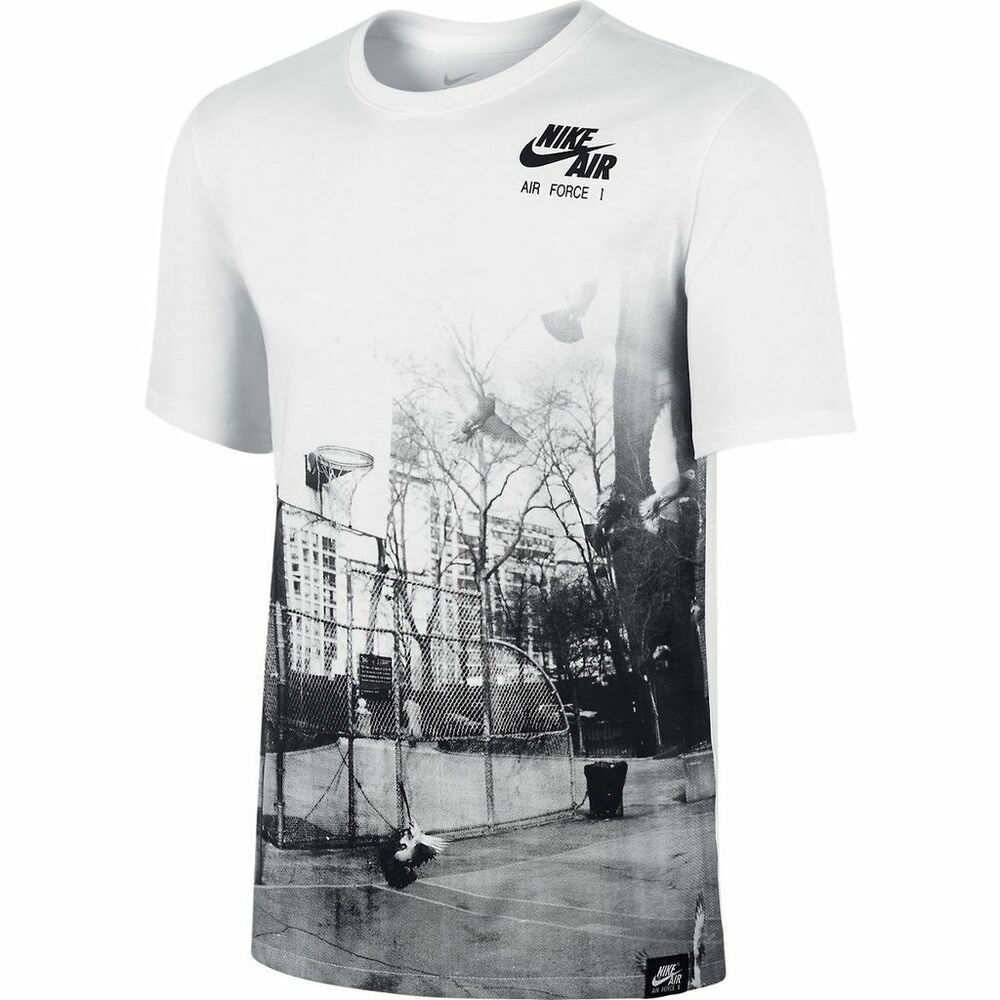 nike air force 1 court street life white black t shirt sz. Black Bedroom Furniture Sets. Home Design Ideas