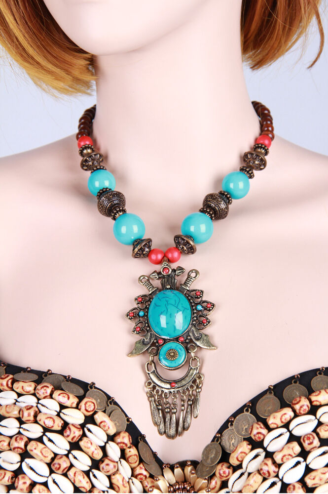 New tribal belly dance costume accessory necklace jewelry for Turquoise colored fashion jewelry