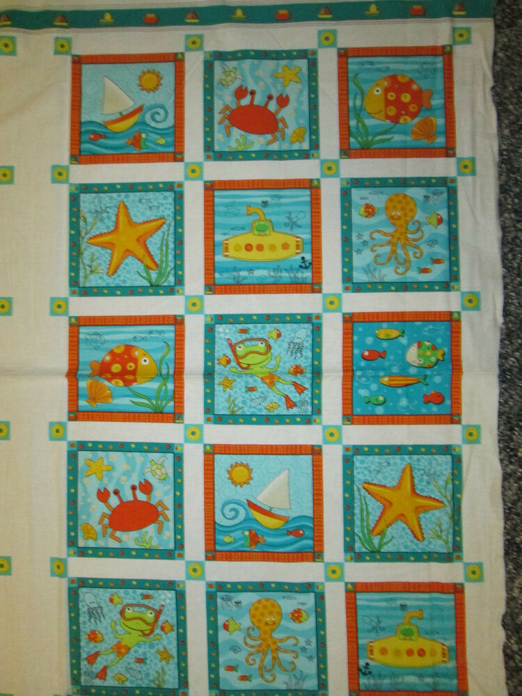 gone fishing frogs fish panel kids fabric cotton fabric
